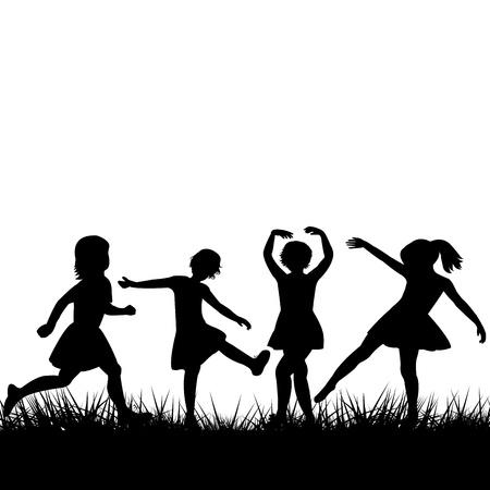 enfants noirs: Silhouettes noires enfants jouant