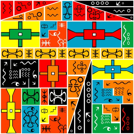 African geometrical motifs, colored background Stock Photo - 9421540