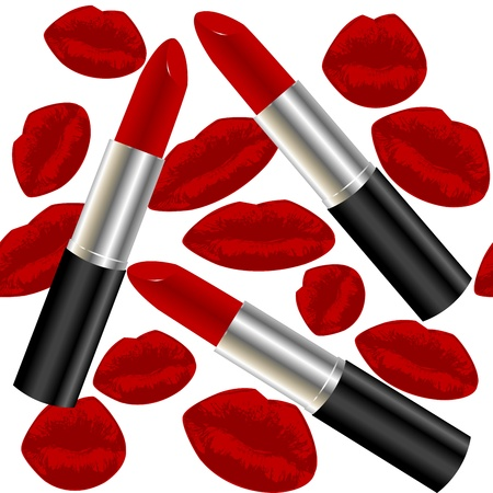 Seamless pattern with lipsticks and lips photo