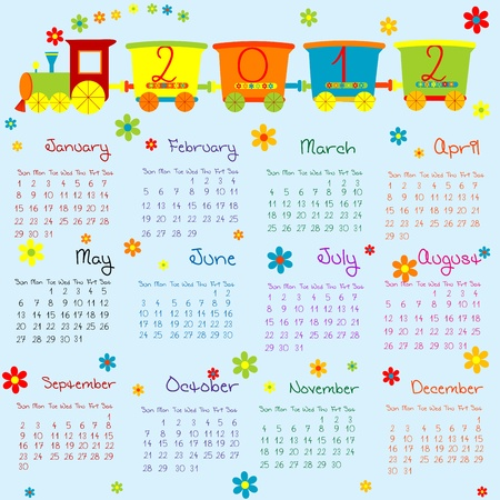 2012 Calendar with cartoon train for boys photo