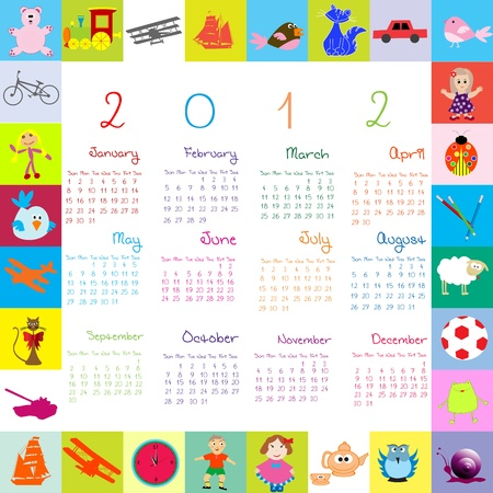 2012 Calendar with toys Stock Photo - 9509490