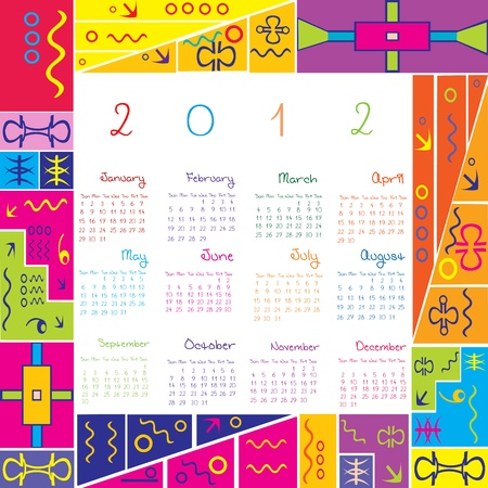 julie: 2012 calendar with colored frame for kids Illustration