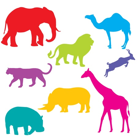rhinoceros: Set of African animals, isolated and grouped objects over white background