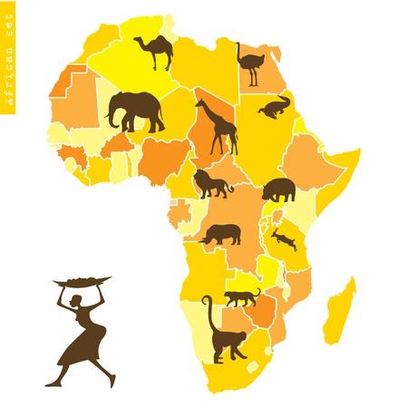 avestruz: �frica con mapa y animales Vectores