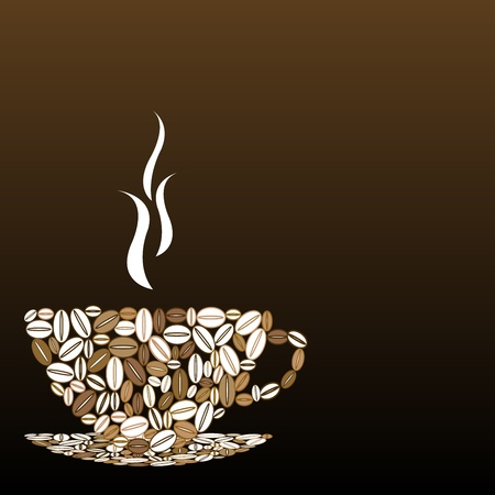 Cup of coffee made of coffee beans Vector