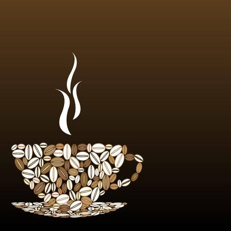 chicchi di caff�: Tazza di caff� in chicchi di caff�