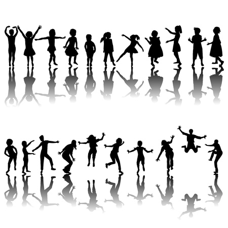 silueta ni�o: Los ni�os dibujados a mano siluetas jugando Vectores