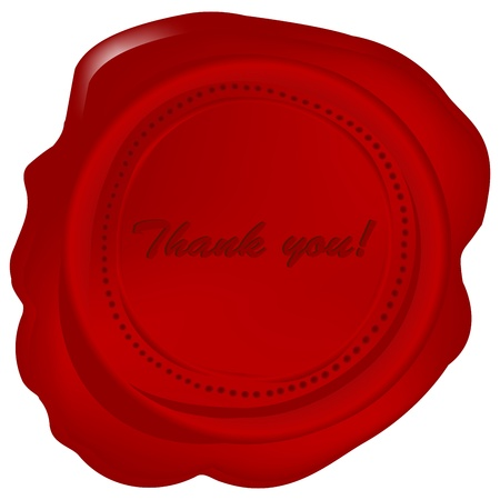 Red wax seal with Thank you Vector