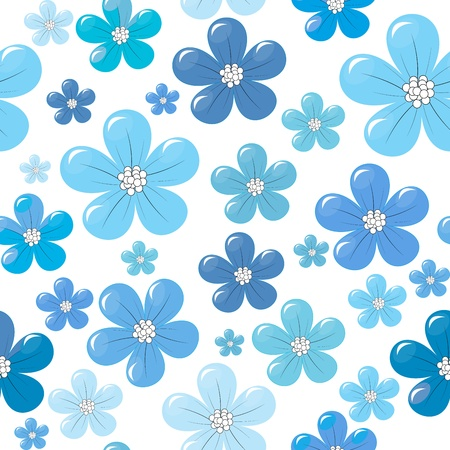 Szwu z niebieskimi kwiatami Ilustracje wektorowe
