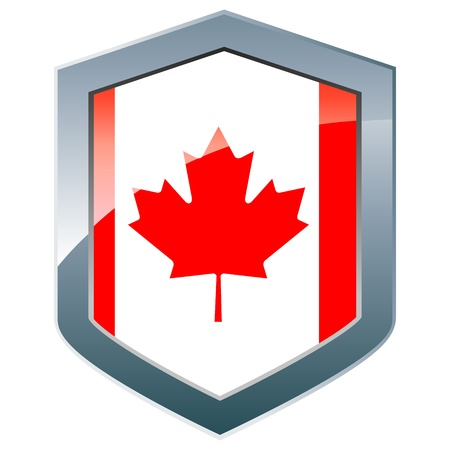 canadian flag: Shield with Canadian flag Illustration