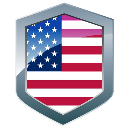 Silver shield with American flag Stock Vector - 9584948