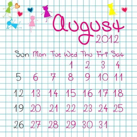 Calendar for August 2012 Stock Vector - 9672846