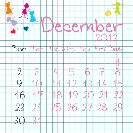 Calendar for December 2012 Stock Vector - 9672839