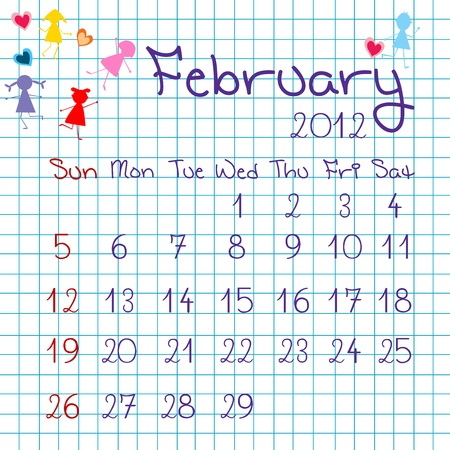 Calendar for February 2012 Stock Vector - 9672836