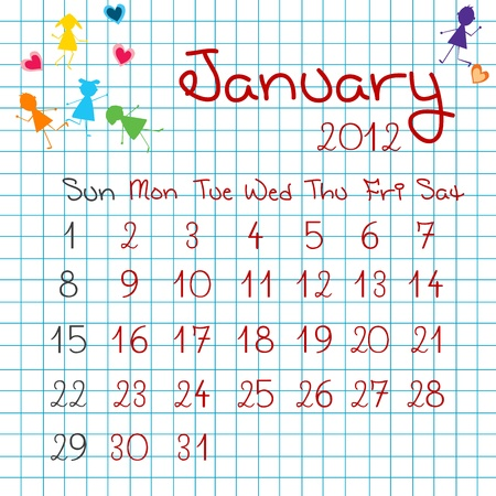 Calendar for January 2012 Stock Vector - 9672847