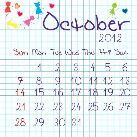 Calendar for October 2012 Stock Vector - 9672843