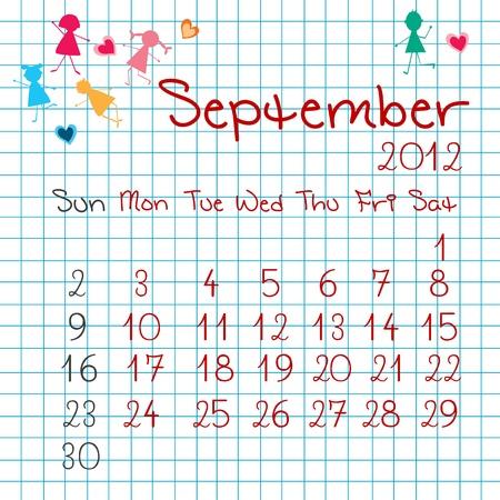 Calendar for September 2012 Stock Vector - 9672845