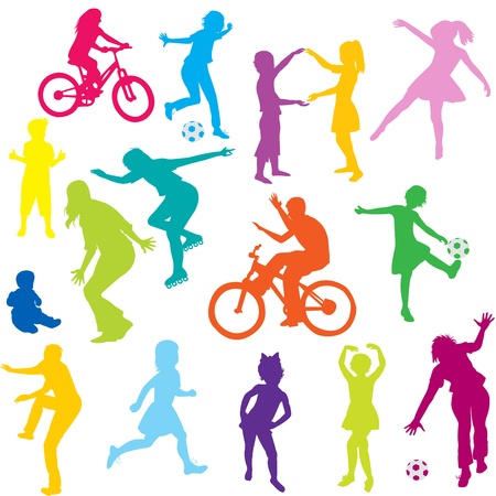 Colored children silhouettes playing Stock Vector - 9672835
