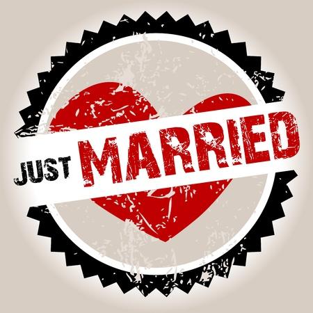 net getrouwd: Grunge stempel met hart en Just Married