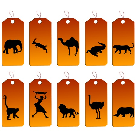 monkey silhouette: Set of african price tags