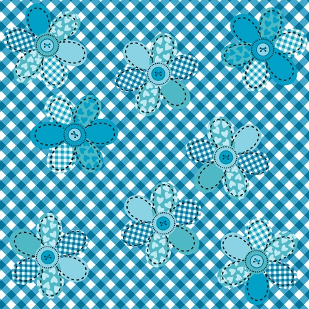 rags: Table cloth with flowers and buttons Illustration