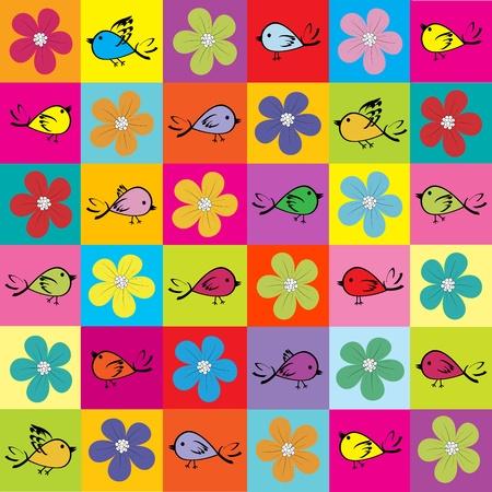 Patrón con pájaros de colores y flores