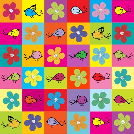 animated: Pattern with colored birds and flowers