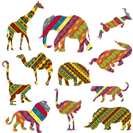 ostrich: Set of African animals made of ethnic textures Stock Photo