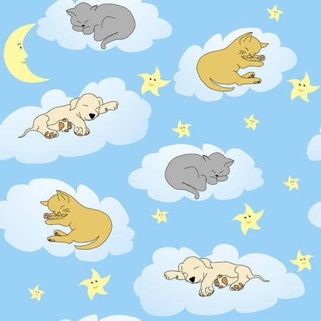 pyjama: Background with sleepy animals and blue night sky