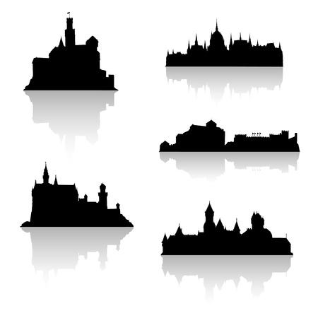 Black castle silhouettes. Set no 2. Vector
