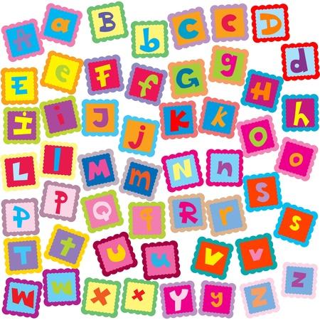 kids abc: Tarjeta de color con letras del alfabeto Vectores