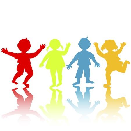 divertirsi: Sagome di bambini colorati giocando Vettoriali