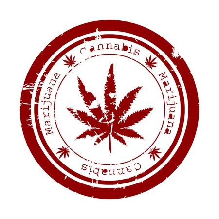 Rode stempel met marihuana blad