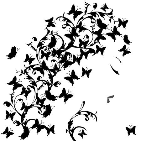 woman profile: Woman profile with black butterflies