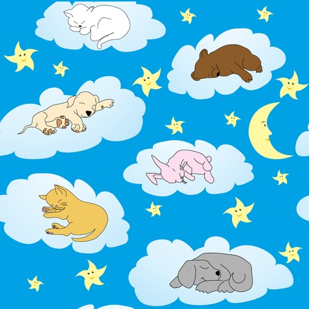 Background with cute doodle animals sleeping on clouds Stock Vector - 9930768