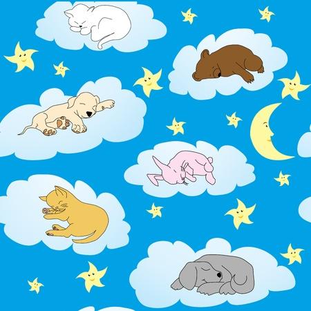 Sfondo con simpatici animali doodle dormendo sulle nuvole