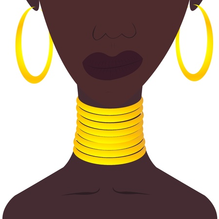 Black woman with jewelies Vector