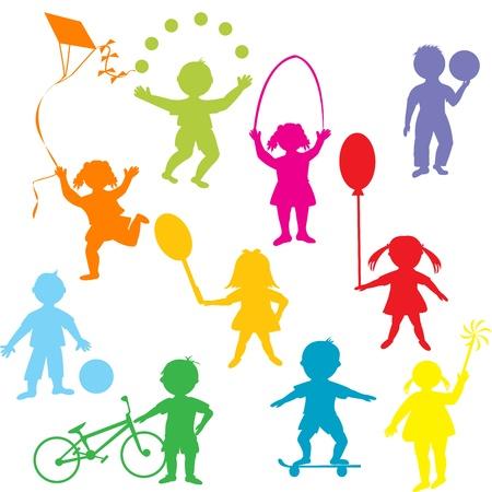 ni�os en bicicleta: Siluetas de color ni�os jugando