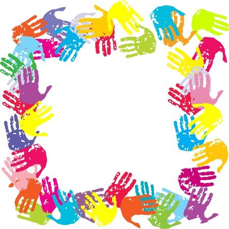 empreintes digitales: Cadre avec les mains color�es Illustration