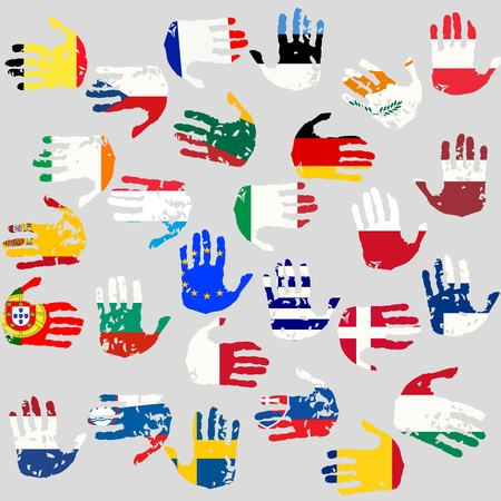 Hands with European Union countries flags Vector