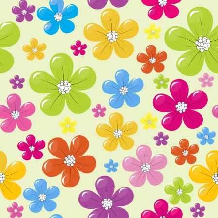 nature wallpaper: Seamless pattern with colored flowers Illustration
