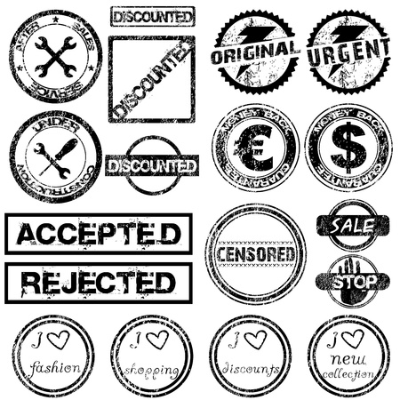 Set with different black grunge stamps Vector