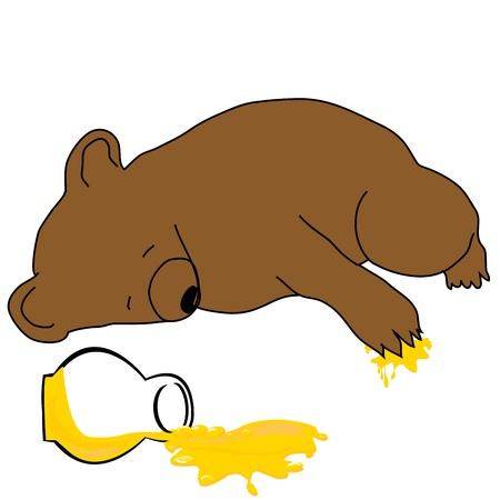 Sleeping bear with a jar of honey Vector