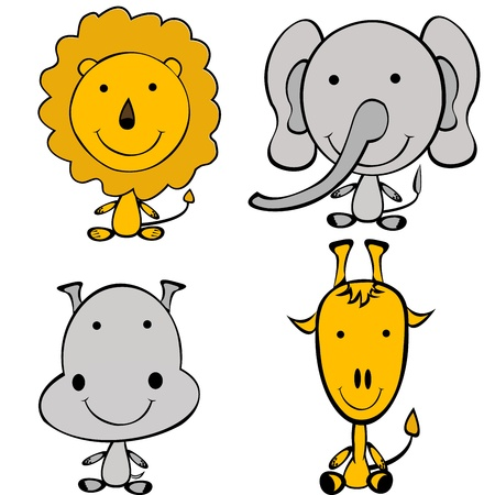 Stylized doodle jungle animals Vector