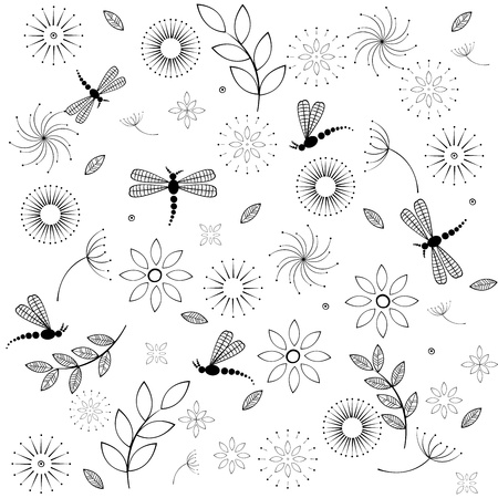 Background with flowers and dragonflies Vector Illustratie