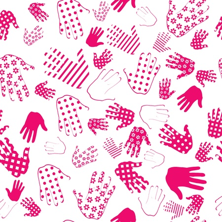 finger paint: Background with pink palms Illustration