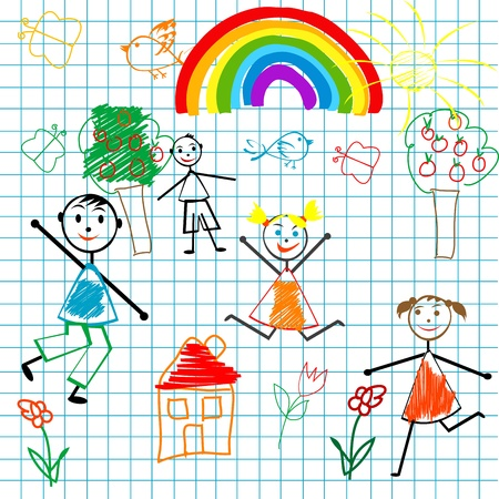 Doodle children on math page background Vector