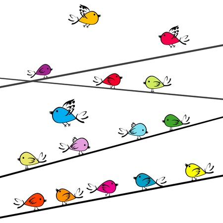 Colored doodle birds on strings Vector