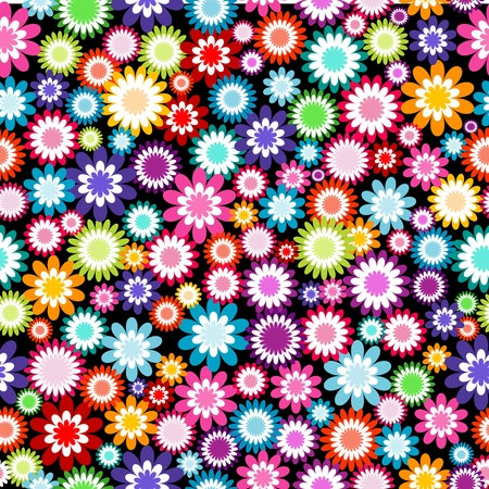 Seamless pattern with multicolored flowers Illustration