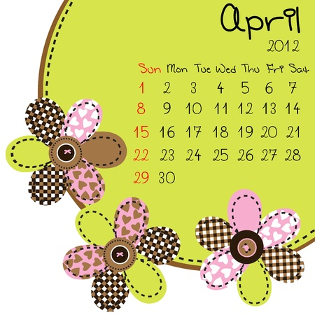 2012 April Calendar Stock Vector - 10308228